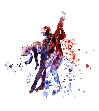 Illustration for Vector watercolor silhouette of dancing couple - Royalty Free Image