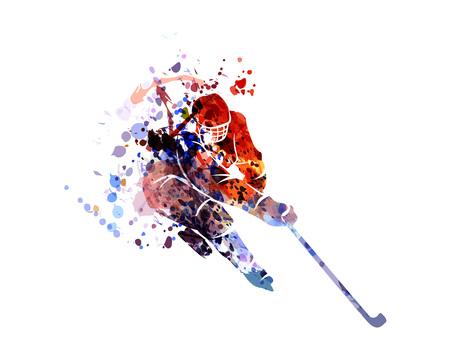 Illustration pour Vector watercolor silhouette hockey player - image libre de droit