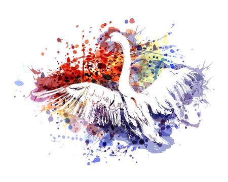 Ilustración de Vector color illustration swan - Imagen libre de derechos