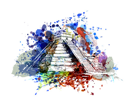 Illustration for Vector color illustration of mayan pyramid - Royalty Free Image