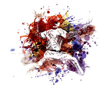 Illustration pour Vector color illustration of a baseball player - image libre de droit