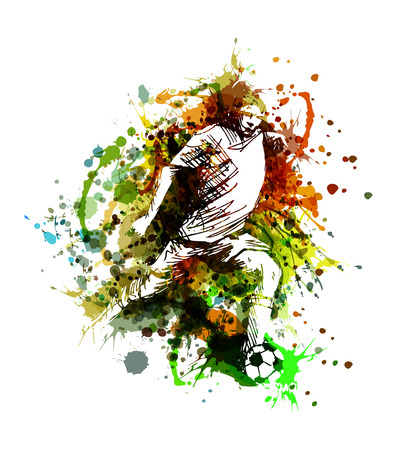 Illustration pour Vector color illustration of a soccer player - image libre de droit