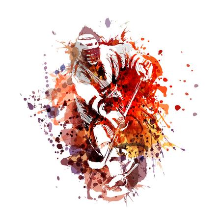 Illustration pour Colored illustration of a hockey player - image libre de droit