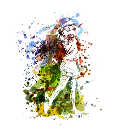 Illustration pour Unique and colorful illustration of a woman playing golf - image libre de droit