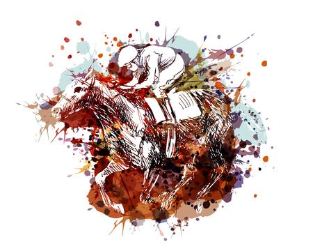 Ilustración de Unique and colorful illustration of a rider with a horse - Imagen libre de derechos