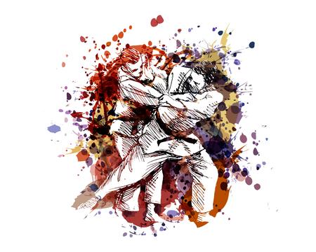 Ilustración de A Vector color illustration of judo fighters - Imagen libre de derechos