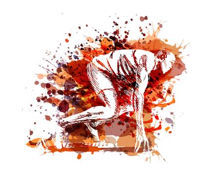 Ilustración de Vector illustration of a runner at start - Imagen libre de derechos