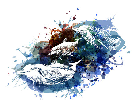 Illustration for Vector color illustration of dolphins - Royalty Free Image