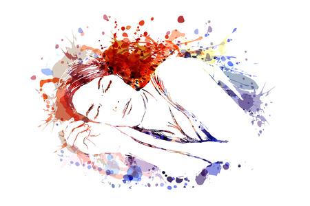 Illustration pour Vector color illustration of sleeping woman - image libre de droit