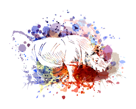 Illustration for A Vector color illustration of rhinoceros - Royalty Free Image