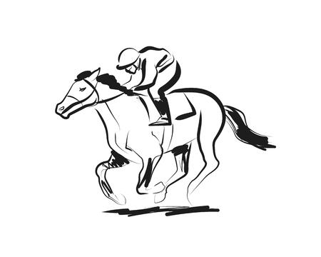 Ilustración de Vector ink sketch rider with a horse - Imagen libre de derechos
