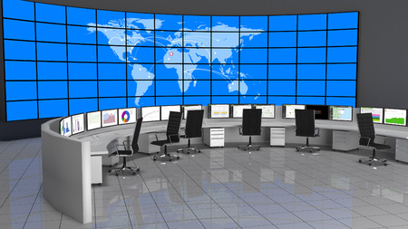 Photo pour Security Operations Center containing computers desks and a large screen containing the world map. - image libre de droit