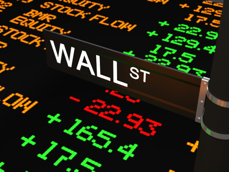Foto de Wall Street, the street name wall street with on the background the LED ticker tape with stock rates and other numbers. - Imagen libre de derechos