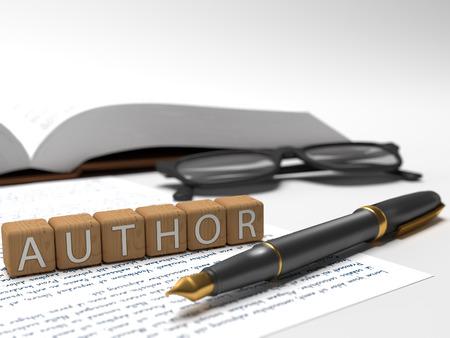 Photo pour Author - dices containing the word author, a book, glasses and a fauntain pen. - image libre de droit