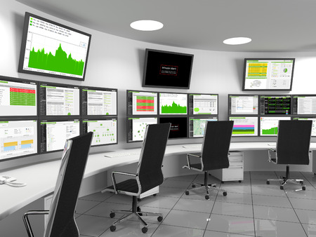 Foto de Security Operations Center - SOC containing monitors with statistics. A security operations center (SOC) is a centralized location that deals with security issues. A SOC is normally located within a building or facility. Staff supervises from here, the si - Imagen libre de derechos