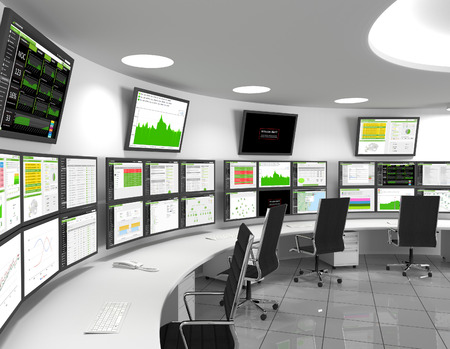 Foto de Network Operations Center - A network operations center or NOC also called a network management center, is a locations from which network monitoring and control, or network management, is exercised over a network. - Imagen libre de derechos