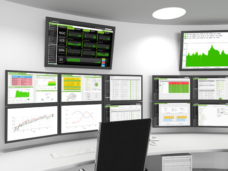 Foto de NOC / SOC Close-up - A close-up of a Network or Security Operations Center. A set of monitors shows monitoring statistics. - Imagen libre de derechos