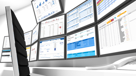 Foto de A network operations center or NOC also called a network management center is a location-which from infrastructure monitoring, management and control takes place. - Imagen libre de derechos