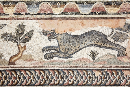 Leopard from a 4th century Roman mosaic at the Villa of Theseus Paphos Archaeological Park mural