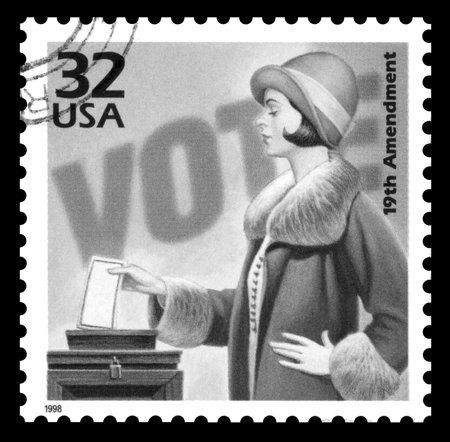 Foto de USA vintage 1970's postage stamp commemorating 50 years of the the women's suffrage movement, black and white image - Imagen libre de derechos