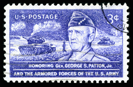 Foto de London, UK, February 19 2018 - Vintage 1953 United States of America cancelled postage stamp  Honouring General George S Patton Jr and the armored forces of the US Army - Imagen libre de derechos