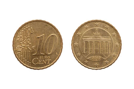 Photo pour Ten cent euro coin of Germany dated 2002 showing the Brandenburg Gate of Berlin on the reverse cut out and isolated on a white background - image libre de droit