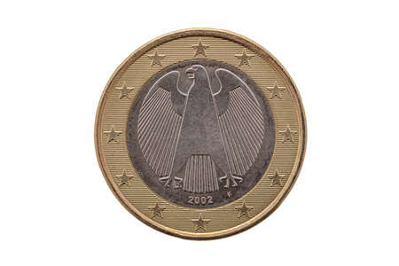 Photo pour Reverse side of a One Euro coin of Germany dated 2002 which shows the German eagle cut out and isolated on a white background - image libre de droit