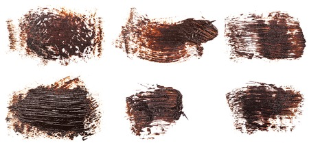 Photo for Stain of oil brown paint on white. Set - Royalty Free Image