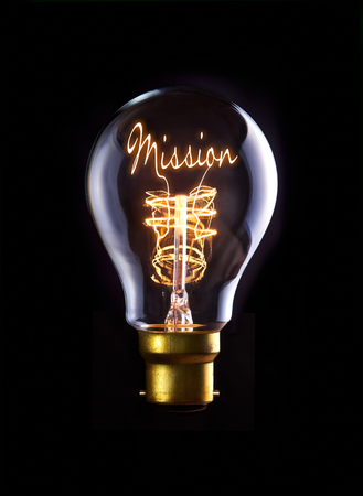 Photo pour Mission concept in a filament lightbulb. - image libre de droit