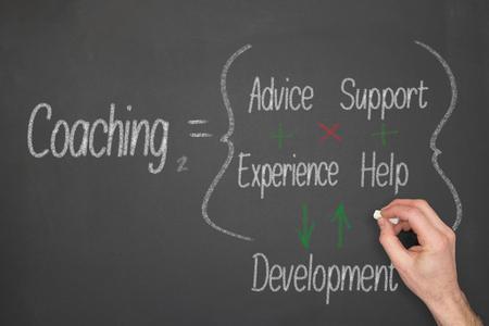 Foto de Coaching concept formula on a chalkboard - Imagen libre de derechos