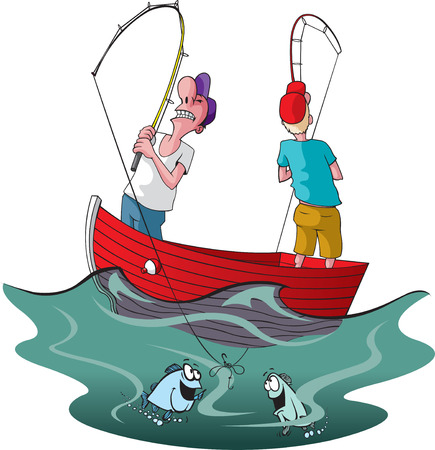 Ilustración de Vector cartoon of two tangled up fishermen   - Imagen libre de derechos