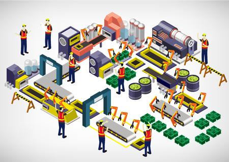 Ilustración de illustration of info graphic factory equipment concept in isometric 3D graphic - Imagen libre de derechos