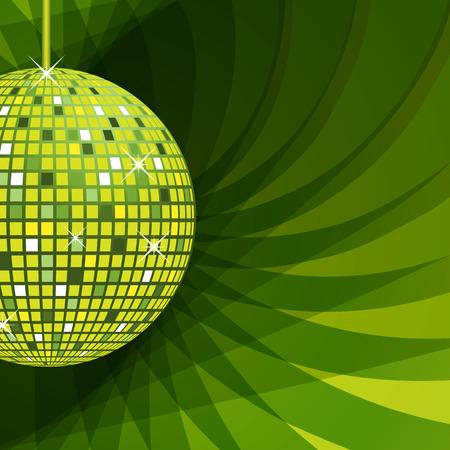 Ilustración de Disco ball in green with sparkles set on an elegant green abstract background. - Imagen libre de derechos