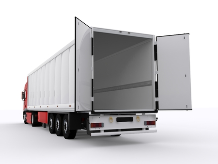 Photo for truck with open trailer - Royalty Free Image