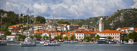 Photo pour Skradin is a small historic town and harbour on the Adriatic coast and Krka river in Croatia. Long wide banner - image libre de droit