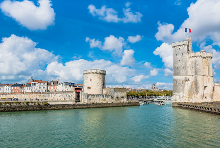 Photo for Old Harbour towers of ancient fortress of La Rochelle France - Royalty Free Image