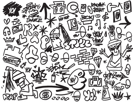 Illustration pour rap  , hip hop , graffiti - vector icons in sketch style - image libre de droit
