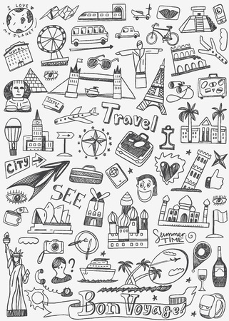 Illustration for travel landmarks - set icons in sketch style - Royalty Free Image