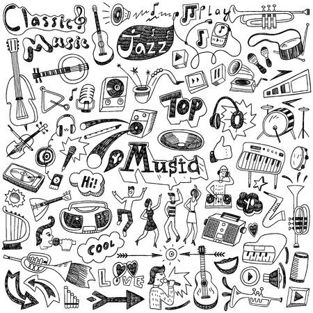 Illustration pour Music doodles - set icons in sketch style - image libre de droit