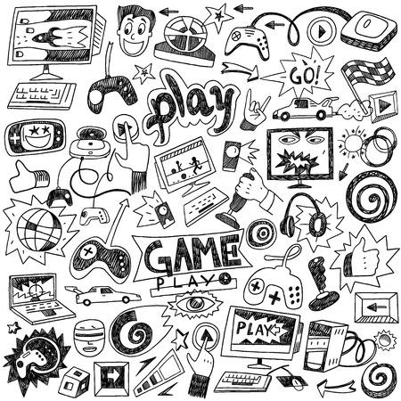 Illustration pour computer games - set icons in sketch style - image libre de droit