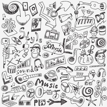 Illustration pour Music doodles - set vector icons in sketch style - image libre de droit