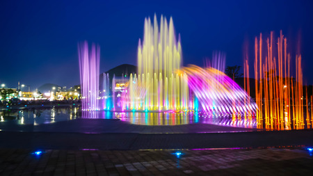 Photo for Blurred fountain show with lighting at Dadaepo in Busan, South Korea - Royalty Free Image