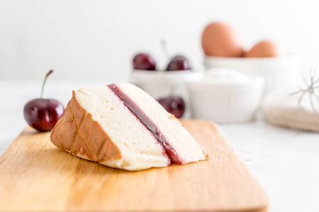 Photo for cherry chiffon cake on table - Royalty Free Image