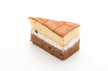 Photo for rum raisin and chocolate chiffon cake isolated on white background - Royalty Free Image