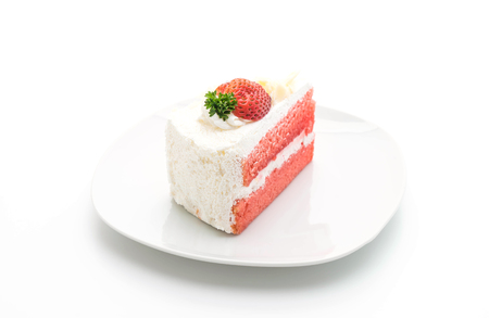 Foto de strawberry cake isolated on white background - Imagen libre de derechos