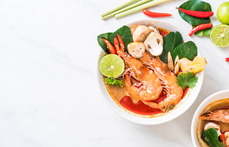 Photo for Tom Yum Goong Spicy Sour Soup - Thai food style - Royalty Free Image