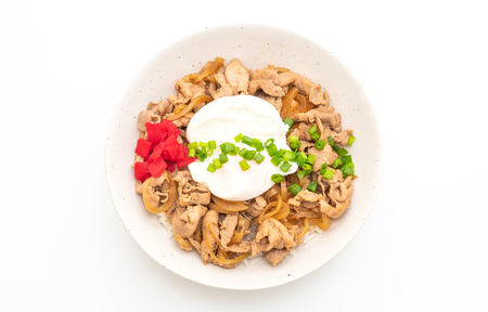 Foto de pork rice bowl with egg (Donburi) isolated on white background - japanese food style - Imagen libre de derechos