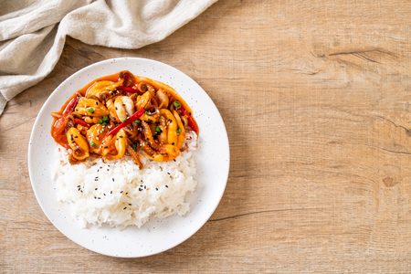 Photo for stir-fried octopus or squid and Korean spicy paste (osam bulgogi) with rice - Korean food style - Royalty Free Image