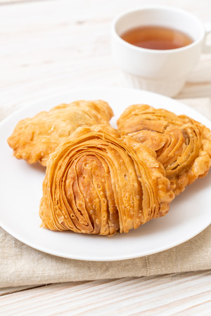 Photo for chicken curry puff pastry on wood background - Royalty Free Image