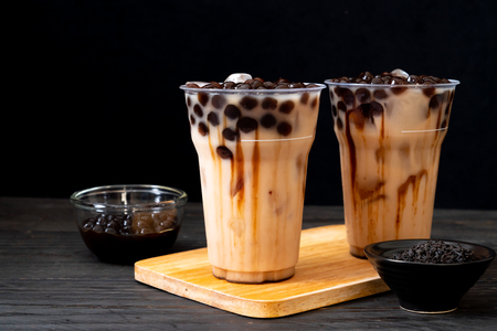 Photo for Taiwan milk tea with bubble on wood background - Royalty Free Image